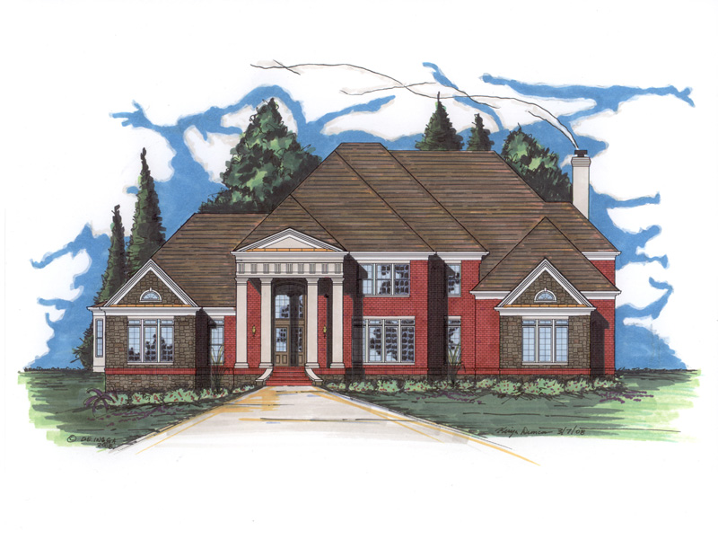 Williamsburg house plan traditional home 4 505 sq ft for Williamsburg house plans